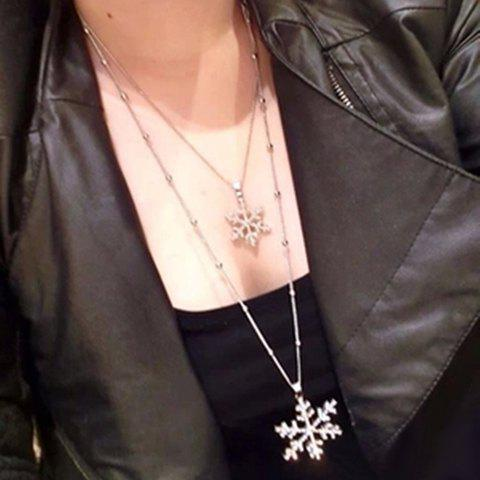 Stylish Chic Rhinestone Layered Snowflake Pendant Sweater Chain Necklace For Women - COLORMIX