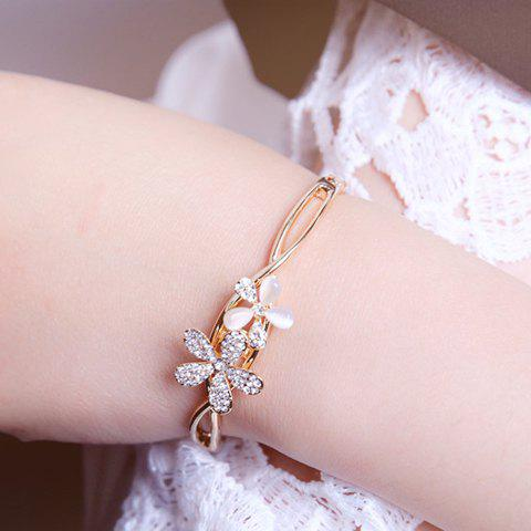 Noble Graceful Rhinestone Opal Flower Bracelet For Women
