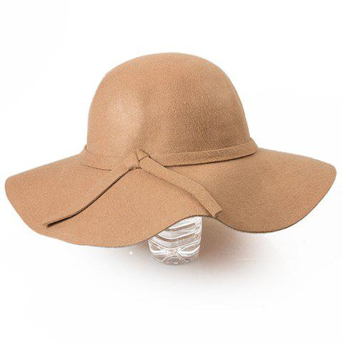 Elegant Woolen Wide Brim Women's Hat - CAMEL ONE SIZE