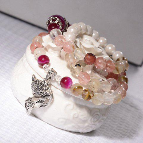 Retro Chic Beads Rhinestone Fox Bracelet For Women - AS THE PICTURE