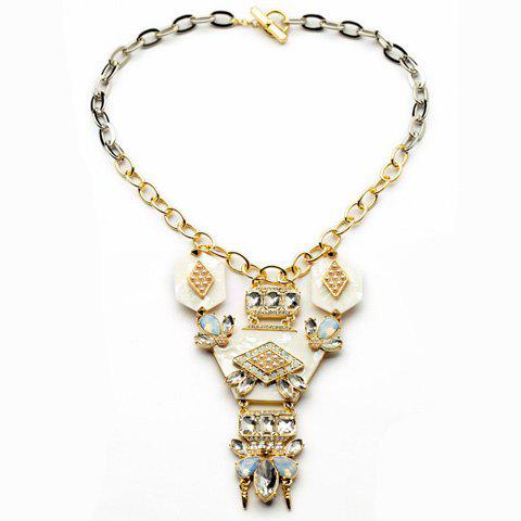 Chic Fashion Rhinestone Geometric Pendant Necklace For Women - AS THE PICTURE