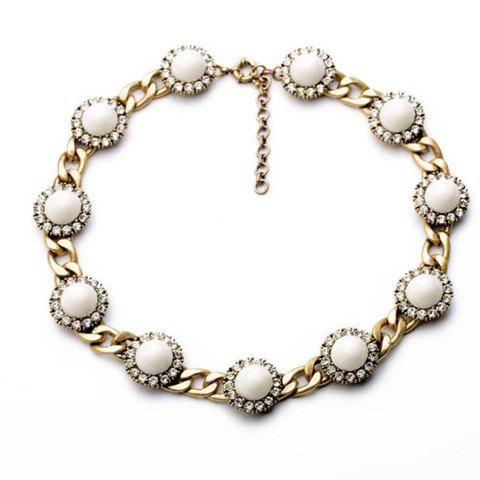 Stylish Delicate Rhinestone Beads Round Necklace For Women - AS THE PICTURE