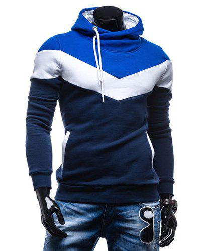 Slimming Trendy Hooded Personality Color Splicing Long Sleeves Men's Thicken Hoodies - CADETBLUE XL