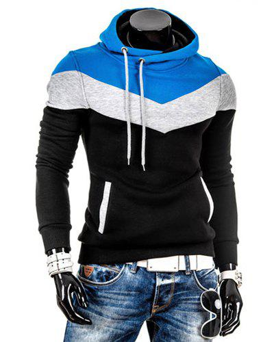 Slimming Trendy Hooded Personality Color Splicing Long Sleeves Men's Thicken Hoodies - BLACK L