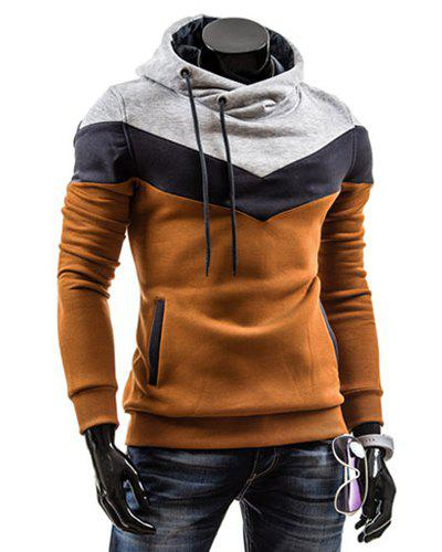 Slimming Trendy Hooded Personality Color Splicing Long Sleeves Men's Thicken Hoodies - CAMEL L