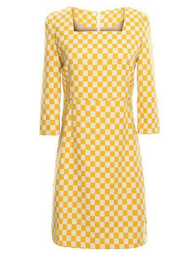 Checked Print Packet Buttock Fashionable Square Neck 3/4 Sleeve Women's Dress - YELLOW M