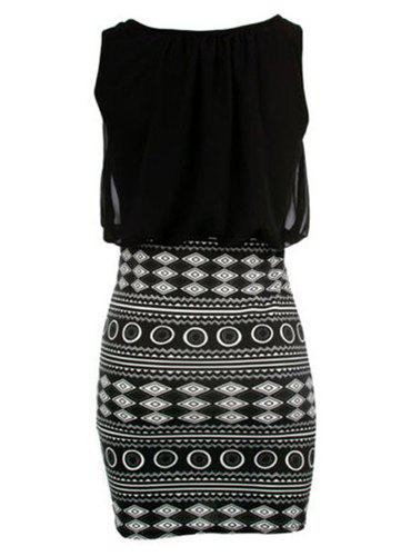 Sexy Round Neck Sleeveless Spliced Printed Bodycon Women's Dress - BLACK L
