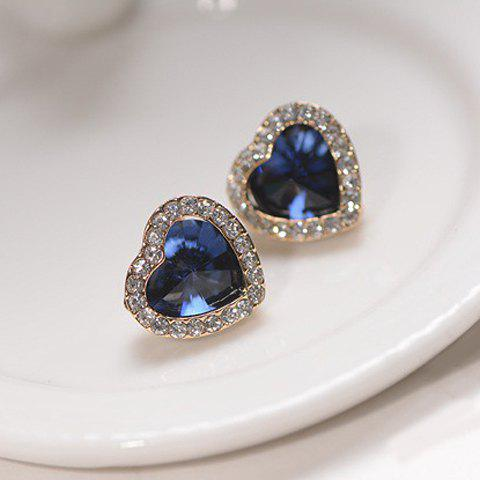 Pair of Fashion Diamante Heart Shaped Blue Stud Earrings For Women