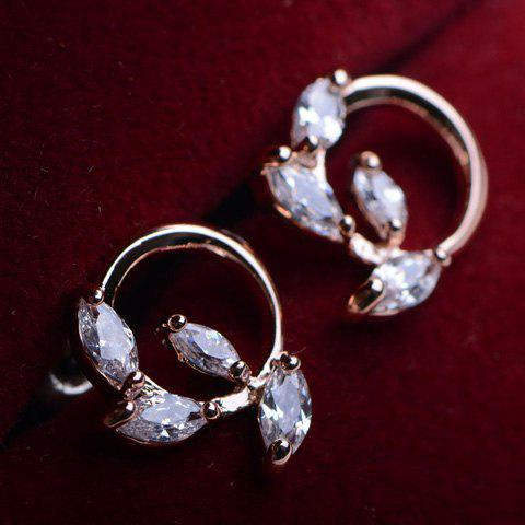 Pair of Cute Faux Crystal Decorated Olive Branch Shaped Stud Earrings For Women - ROSE GOLD