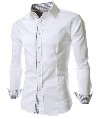 Slimming Trendy Turn-down Collar Checked Print Splicing Long Sleeves Men's Cotton Blend Shirt - WHITE XL