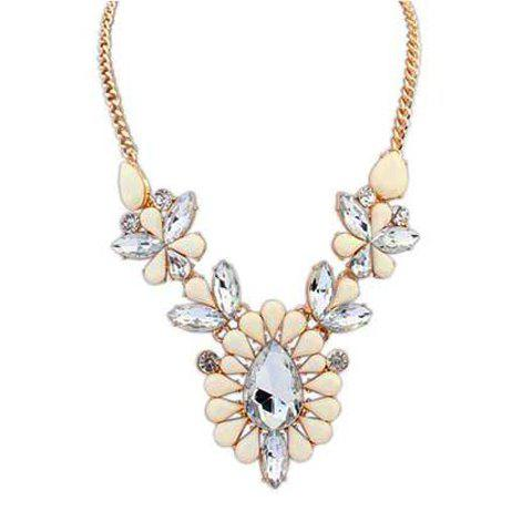 Elegant Chic Colored Beads Drop Rhinestone Pendant Necklace For Women - WHITE