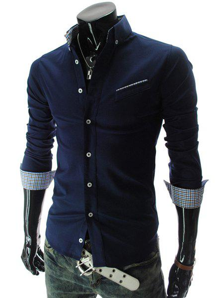 Stylish Turn-down Collar Slimming Inclined Pocket Embellished Long Sleeves Men's Polyester Shirt - CADETBLUE 2XL