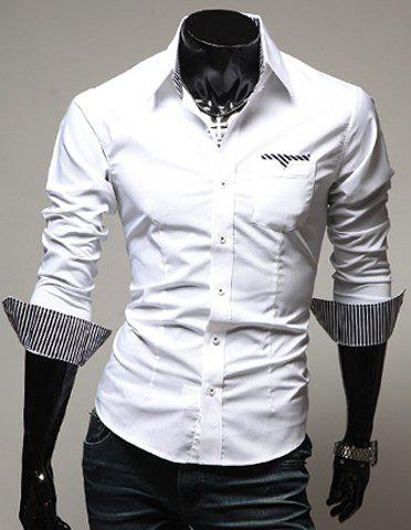Casual Style Turn-down Collar Slimming Individual Stripes Print Long Sleeves Men's Polyester Shirt - WHITE L