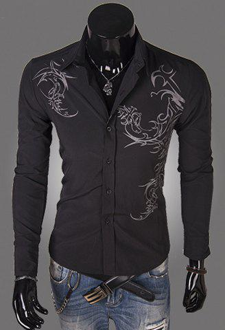 Slimming Trendy Turn-down Collar Personality Tattoo Print Long Sleeves Men's Cotton Blend Shirt - BLACK M