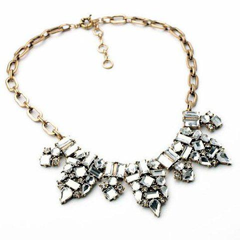 Fashion Crystal Gem Drip Pendant Necklace For Women - WHITE