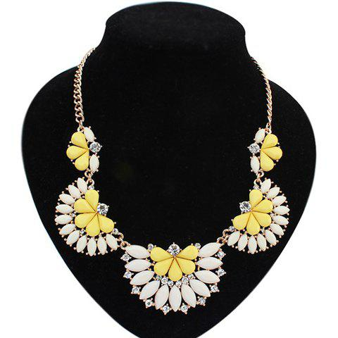 Fashion Polishing Candy Color Gemstone Decorated Fan Shaped Pendant Necklace For Women