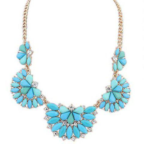 Fashion Polishing Candy Color Gemstone Decorated Fan Shaped Pendant Necklace For Women exquisite candy color rhinestone decorated tassels pendant necklace for women