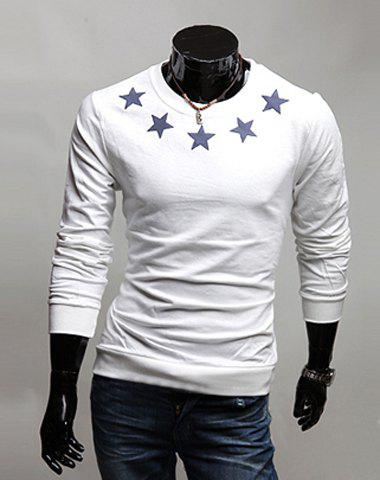 Simple Style Five-Pointed Star Print Round Neck Slimming Long Sleeves Men's Cotton Blend T-Shirt - WHITE L