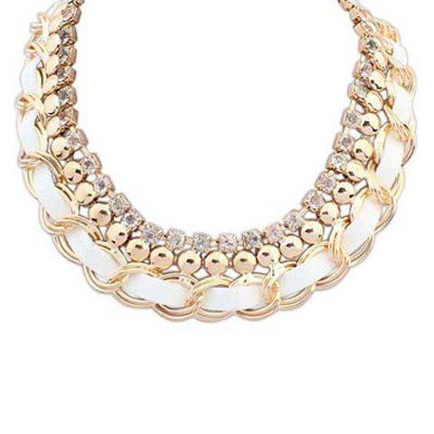 Fashion Rhinestone Decorated Knitted Layered Design Pendant Necklace For Women - WHITE