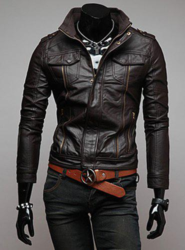 Trendy Slimming Long Sleeves Stand Collar Multi-Zipper Design Solid Color Men's Leather Jacket - COFFEE L