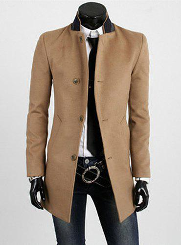 Casual Style Slimming Long Sleeves Stand Collar Color Block Single-Breasted Men's Woolen Trench Coat - YELLOW M