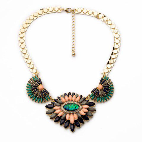 Sweet Colorful Faux Gem Decorated Layered Flower Pendant Necklace For Women - GREEN