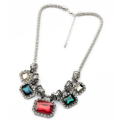 Sweet Geometric Faux Crystal Pendant Necklace For Women - RED