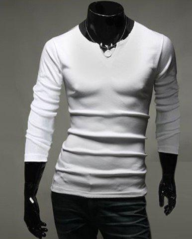 Color Splicing Personality Stand Collar Slimming Fashion Design Long Sleeves Men's Polyester T-Shirt - WHITE 2XL