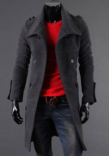 Casual Style Slimming Long Sleeves Turn-down Collar Double-Breasted Shoulder Mark and Back Slit Design Solid Color Men's Woolen Coat - DEEP GRAY 2XL