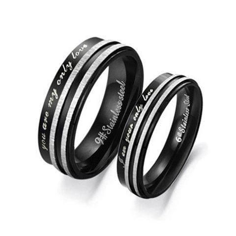 ONE PIECE Stylish Letter Decorated Black Lover Couple Ring