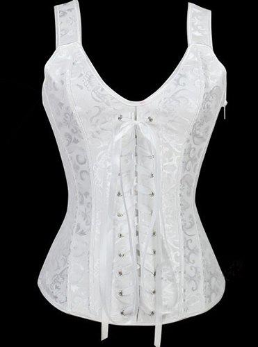 Lace Up V Neck Corset - WHITE S