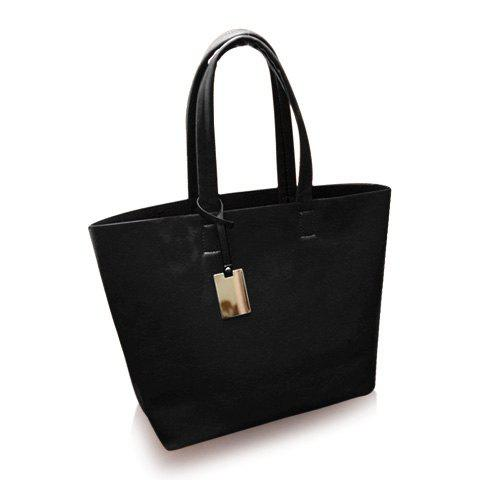 Concise Solid Color and Metal Design Shoulder Bag For Women - BLACK