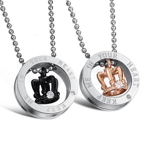 Image For ONE PIECE Chic Rhinestone Crown Decorated Lover Couple Necklace