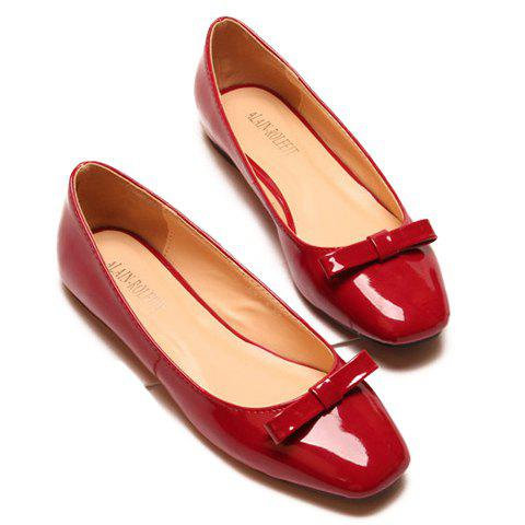 Image For Elegant Bowknot and Square Toe Design Flat Shoes For Women