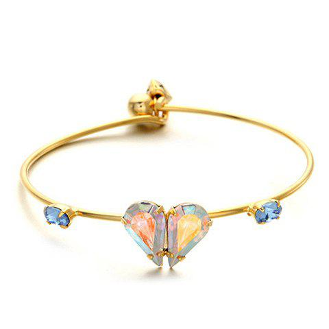 Retro Faux Crystal Decorated Heart Shaped Cuff Bracelet For Women - AS THE PICTURE