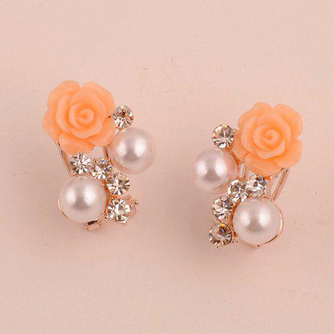 Image For Pair of Chic Faux Pearl and Rhinestone Decorated 3D Rose Shaped Stud Earrings For Women