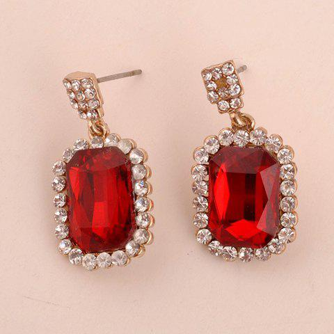 Image For Pair of Chic Rhinestone Decorated Geometric Pendant Earrings For Women