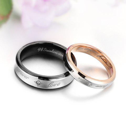 ONE PIECE Sweet Cute Rhinestone English Letter Lover Couple Ring - MALE ONE SIZE