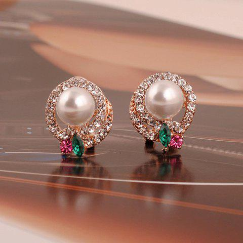 Pair of Chic Faux Pearl Embellished Layered Diamante Round Stud Earrings For Women - GOLDEN