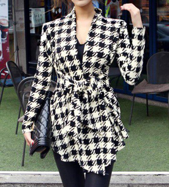 Image For Stylish Collarless Long Sleeve Plaid Special Cut Lace-Up Women's Coat