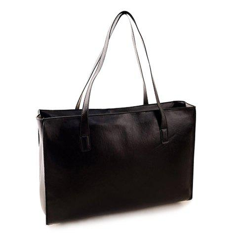 Casual PU Leather and Solid Color Deisgn Shoulder Bag For Women - BLACK