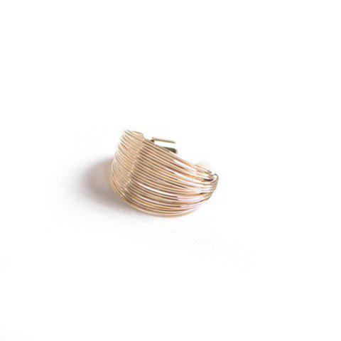 Chic Layered Solid Color Ring For Women - GOLDEN ONE SIZE