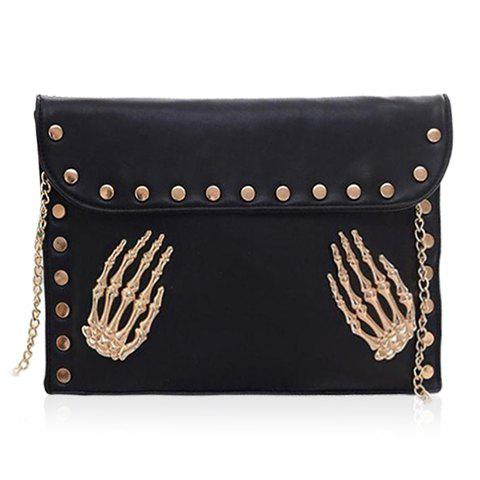Punk Rivets and Chain Design Shoulder Bag For Women - BLACK