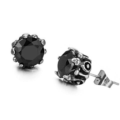 Pair of Stylish Chic Black Rhinestone Earrings For Women - BLACK