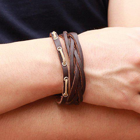 Image For Chic Openwork Leather Bracelet For Men
