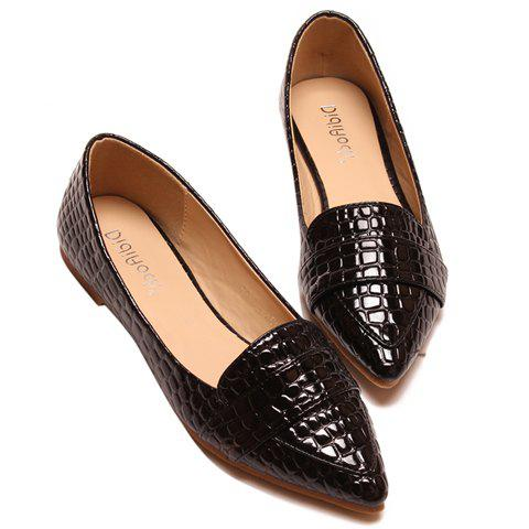 Stylish Patent Leather and Crocodile Print Design Flat Shoes For Women - BLACK 39