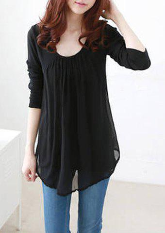 Image For Casual Style Scoop Collar Chiffon Splicing Long Sleeve Women's T-Shirt