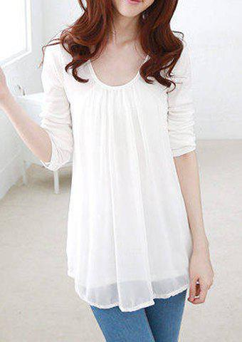 Casual Style Scoop Collar Chiffon Splicing Long Sleeve T-Shirt For Women - WHITE L