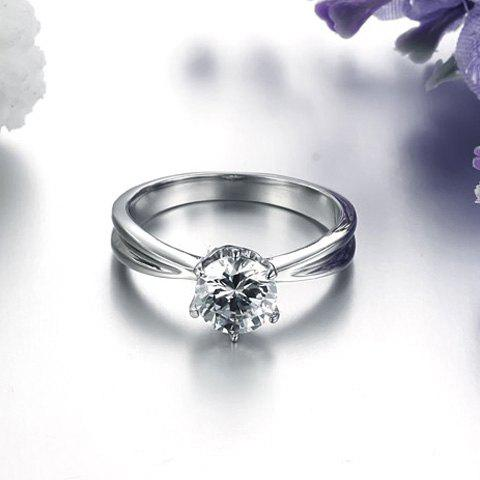 Chic Stylish Round Shape With Rhinestone Ring For Women - SILVER ONE SIZE