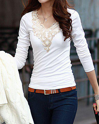 Fashionable V-Neck Lacework Splicing Long Sleeve T-Shirt For Women - WHITE M